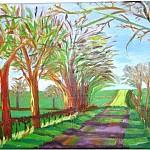 Landschaft nach Hockney           Acryl auf Leinwand 80 x 40