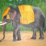 Elefant 2009,   Acryl auf Leinwand 1m x 80 cm